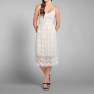 Abercrombie and Fitch midi cream lace dress